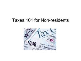 Taxes 101 for Non-residents - Washington and Lee University