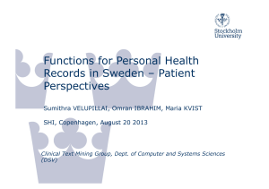 Functions for Personal Health Records in Sweden