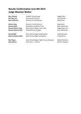Results Conformation June 8th 2014 Judge Maarten Walter