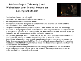 Aanbevelingen (Takeaways) van Weinschenk over Mental Models