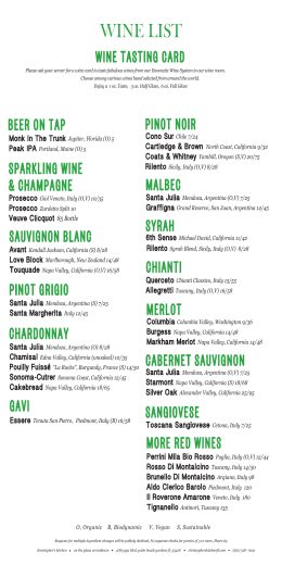 Wine Menu March 2015 - Christopher`s Kitchen