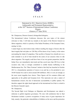 ITALY Statement by HE Maurizio Enrico SERRA, Ambassador and