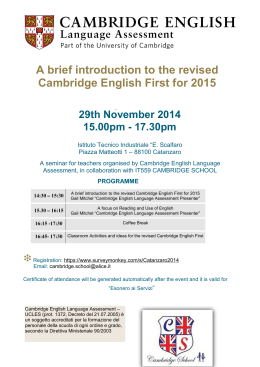 A brief introduction to the revised Cambridge English First for 2015