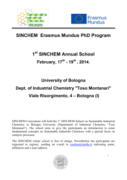 SINCHEM Erasmus Mundus PhD Program 1 SINCHEM Annual School