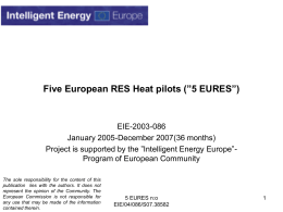 "Five European RES Heat pilots (""5 EURES"")"