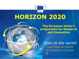 Horizon 2020 - The European Union`s programme for Research and