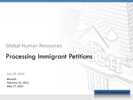 Processing Immigrant Petitions - Georgia Tech Office of Human