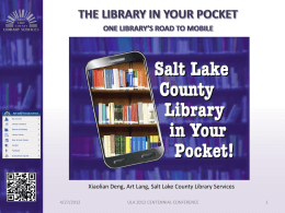 Why Mobile Apps - Utah Library Association