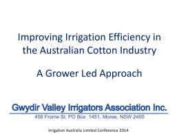 Improving Irrigation Efficiency in the Australian