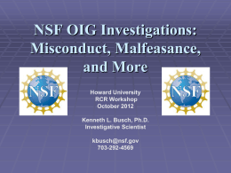 NSF OIG Investigations - Howard University, Graduate School