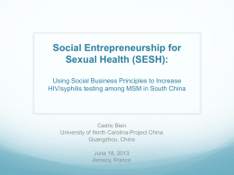 Social Entrepreneurship for Sexual Health (SESH
