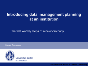 Data management planning at an institution