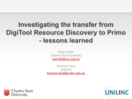 Investigating the transfer from DigiTool Resource Discovery
