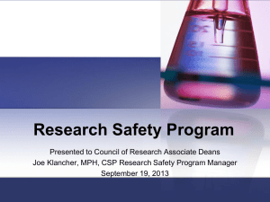 Lab Safety Surveys Progress Report