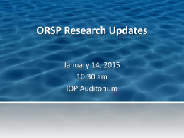 January 14, 2015 Research Updates Presentation