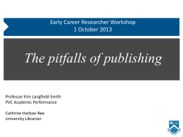 Pitfalls of publishing