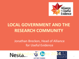 Local Government and the Research Community