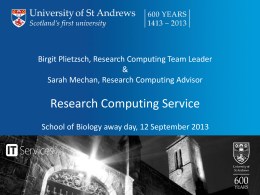 Research Computing - University of St Andrews
