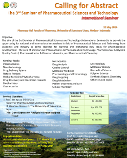 The 3rd Seminar of Pharmaceutical Sciences and Technology