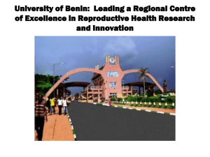 Presentation from University of Benin
