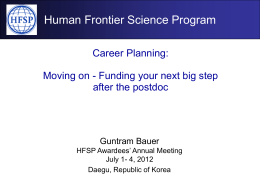 Planning your career - Human Frontier Science Program