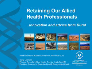 Retaining Our Allied Health Professionals