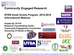 Community Engaged Research - RTRN Small Grants Program