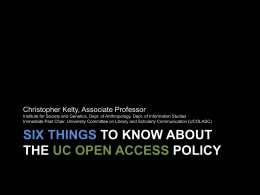 """Six Things to Know"" Presentation by Professor Christopher Kelty"
