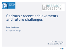 Cadmus, the EUI research repository. recent - HEAL-Link