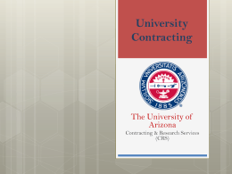 University Contracting - University of Arizona