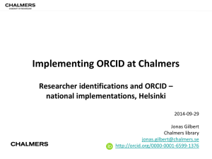 ORCID @ Chalmers