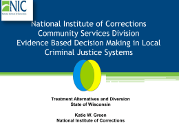 Evidence Based Decision Making in Local Criminal Justice Systems