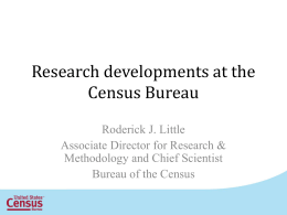 An Overview of Statistical Methodology at the Census Bureau