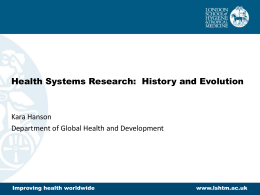 Health Systems Research: History and Evolution