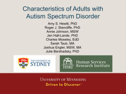 Characteristics of Adults with Autism Spectrum Disorders