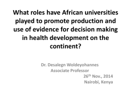 What Roles Have African Universities Played To Promote