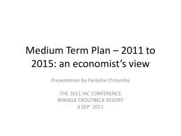 5) Medium Term Plan – 2011 to 2015