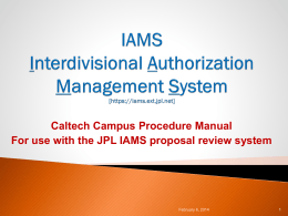 IAMS Procedures Manual - Office of Research Administration