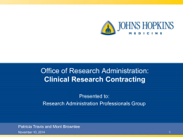 Clinical Research Contracting