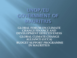 GOVERNMENT OF MAURITIUS - Climate Change Finance and