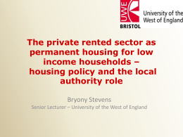 The private rented sector as permanent housing for low income