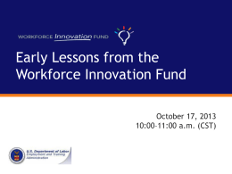 Lessons from Year 1 of the Workforce Innovation Fund