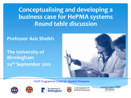 HePMA Workshop 24th September 2012