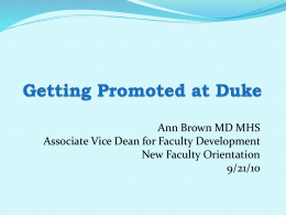 Faculty Promotion Pathway - Duke University School of Medicine