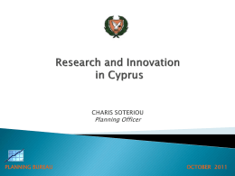 R&D and INNOVATION IN CYPRUS by COSTAS IACOVOU Director