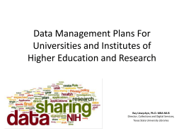 Data Management Repositories for Universities
