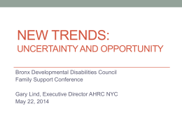 Gary Lind`s (AHRC) Presentation on New Trends in Health Care