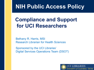 NIH Public Access Policy Compliance September 2013 QRAM