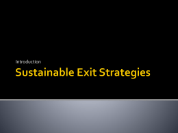 Sutainable Exit Strategies