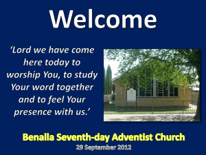 Benalla Seventh-day Adventist Church `Proclaiming God`s Grace`